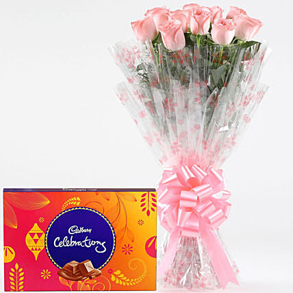 Pink Roses With Cadbury Celebrations: Girlfriends Day Chocolates