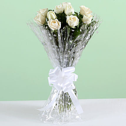 Pure Elegance-10 White Roses Bunch: White Flowers
