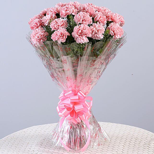 Unending Love-24 Light Pink Carnations Bouquet: Carnations