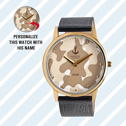 Personalised Camouflage Dial Watch For Him: Personalised Watches