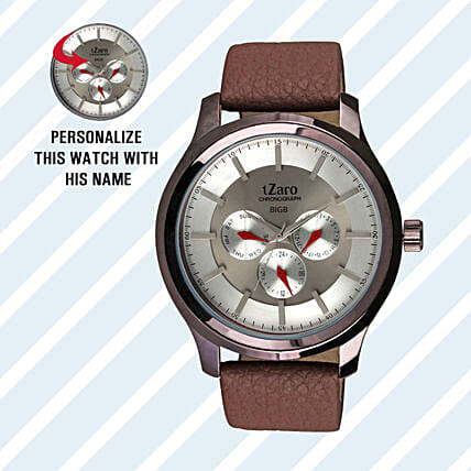 Personalised Classy Brown Watch For Him: