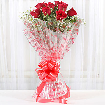 10 Red Roses Exotic Bouquet: Karwa Chauth Gifts Delhi India