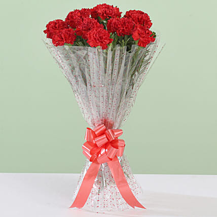 12 Glorious Red Carnations Bouquet: Red Flowers