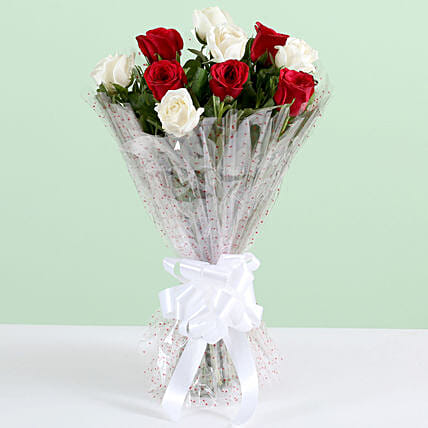 Graceful 10 White & Red Roses Bouquet: Mixed Roses