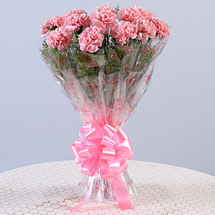 Unending Love-12 Light Pink Carnations Bouquet: