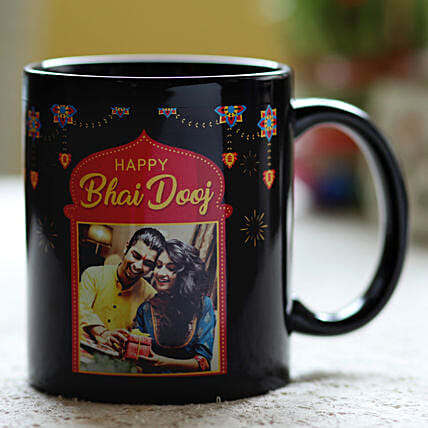 Personalised Bhai Dooj Wishes Black Mug: Personalised Mugs for Bhai Dooj