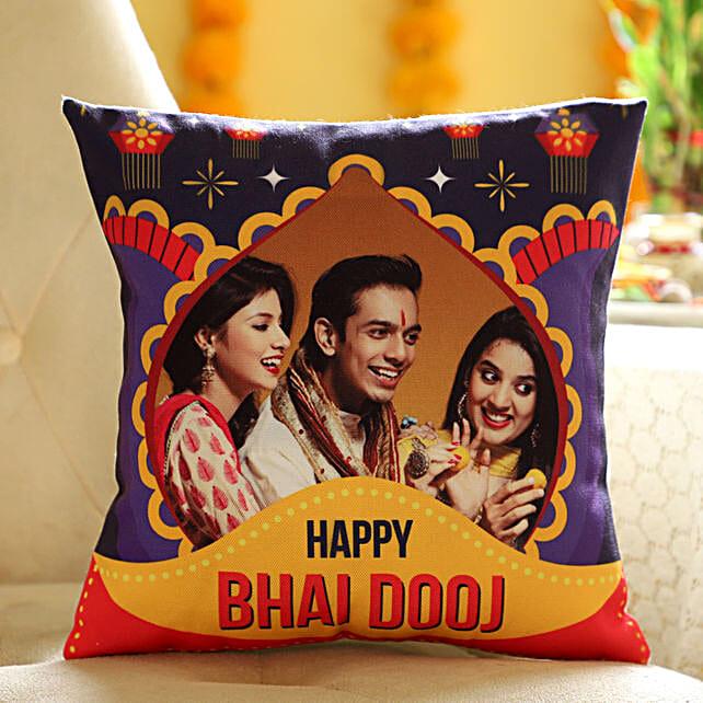 Personalised Bhai Dooj Wishes Cushion: Personalised Cushions for Bhai Dooj