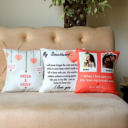 Set Of 3 Personalised Love Message Cushions: