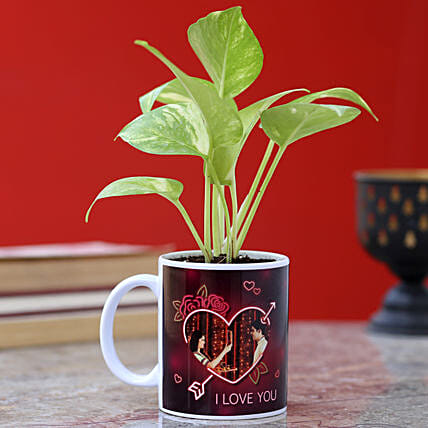 Personalised Karwa Chauth Golden Money Plant: Plants for Wife