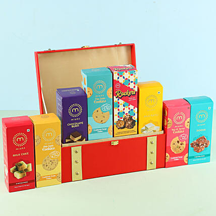 Assorted Misht Sweets Cookies Red Gift Box: Send Bhai Dooj Gift Hampers