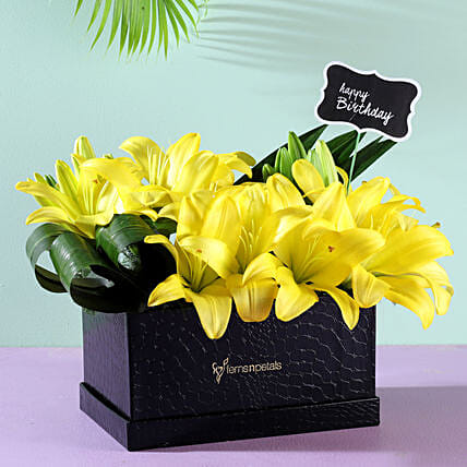 Birthday Yellow Asiatic Lilies: