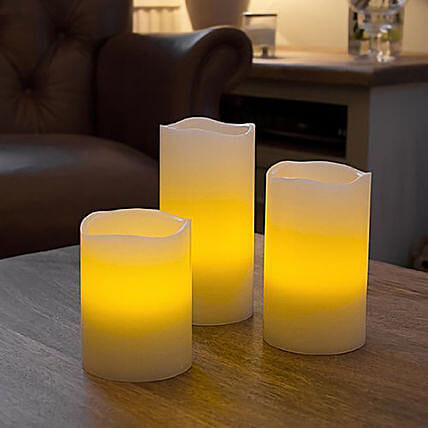LED Pillar Candles Set: