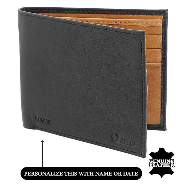 Men's Bi-Fold Black & Tan Wallet: Handbags and Wallets