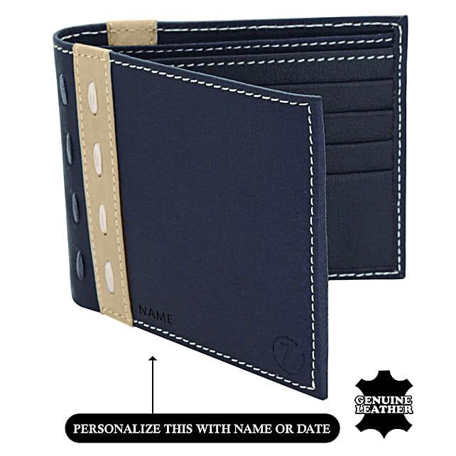 Men's Bi-Fold Blue & Beige Wallet: Handbags and Wallets