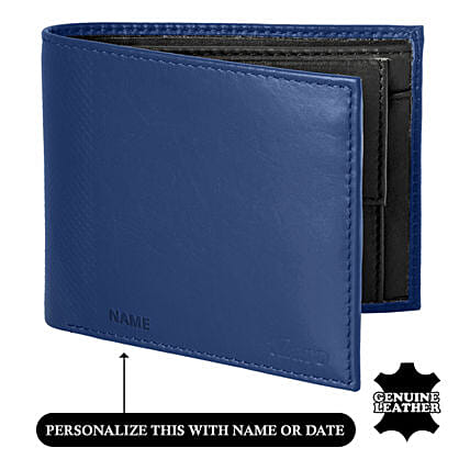 Men's Bi-Fold Blue & Black Wallet: