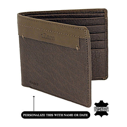 Men's Bi-Fold Brown Leather Wallet: Personalised Handbags and Wallets