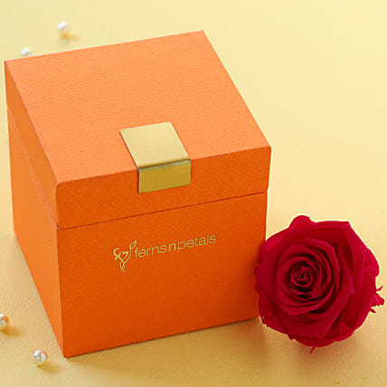Hot Pink Forever Rose in Orange Box: Forever Roses