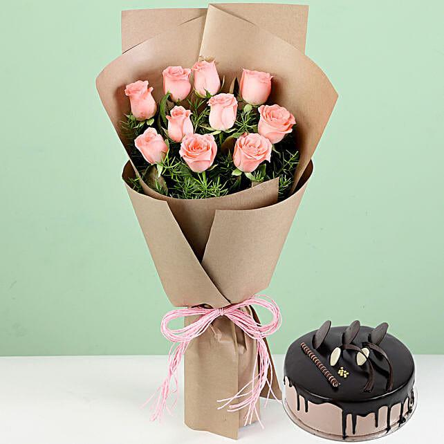10 Pink Roses & Chocolate Cream Cake: Cakes Combo