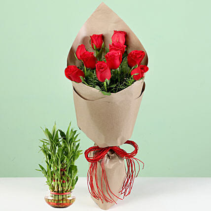 10 Red Roses Bouquet With Lucky Bamboo: Flowers N Plants