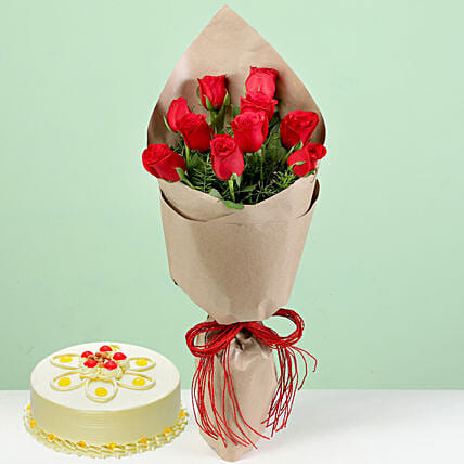 10 Red Roses & Butterscotch Cake: Red Flowers