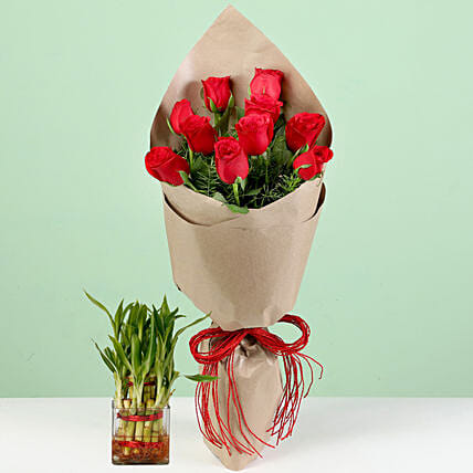 Bouquet Of Red Roses & Lucky Bamboo Combo: Send Flowers N Plants