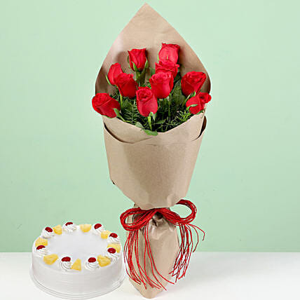 Bouquet Of Red Roses & Pineapple Cake: