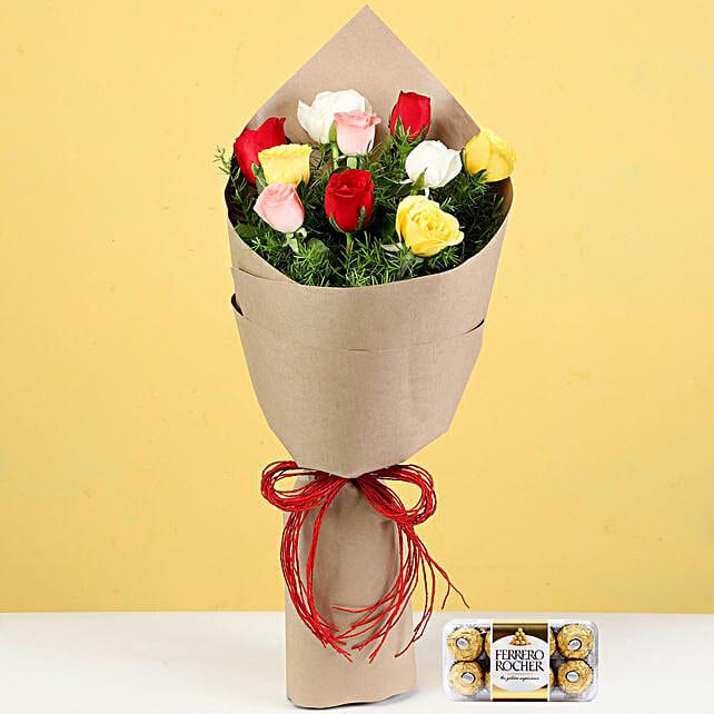 Multicoloured Roses Bouquet & Ferrero Rocher: