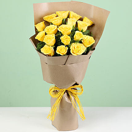 Bright 18 Yellow Roses Bouquet: