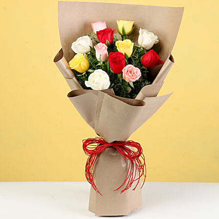 Multicolour Roses In Brown Paper: