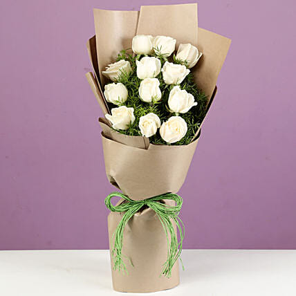Pristine White Roses In Brown Paper: Gift Ideas