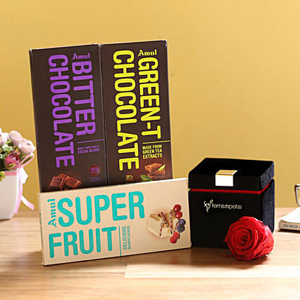 Forever Red Rose & Special Amul Chocolates: Send Flowers and Chocolates