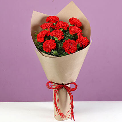 Bright Red Carnations Bouquet: Red Flowers