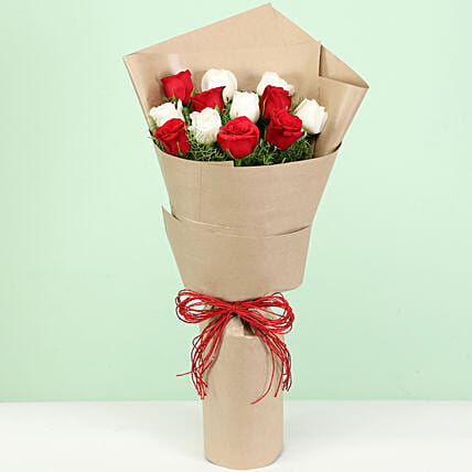 Posy Of Red & White Roses: Mixed Roses