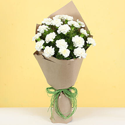 Pristine White Carnations Bouquet: