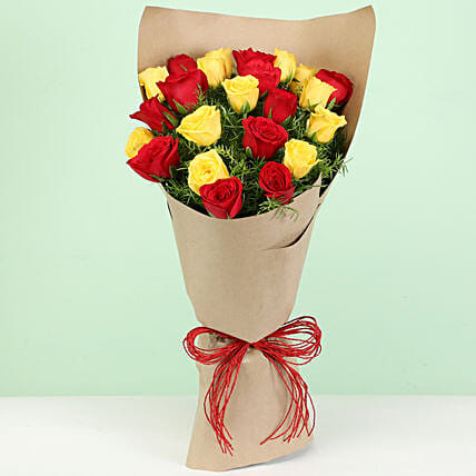 Vibrant Red & Yellow Roses Bouquet:
