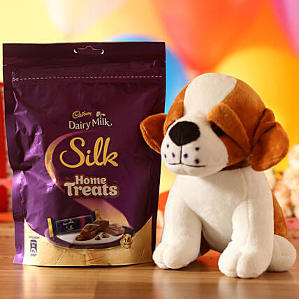 Adorable Dog Soft Toy & Silk Chocolate Pack:
