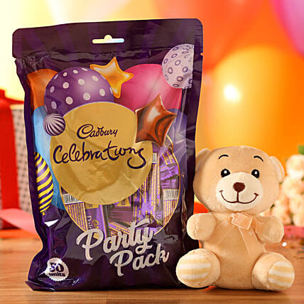 Adorable Teddy Bear & Cadbury Party Pack: Soft toys for Propose Day