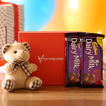 Cuddly Bear & Dairy Milk Fruit N Nut Combo: Soft Toys Gifts