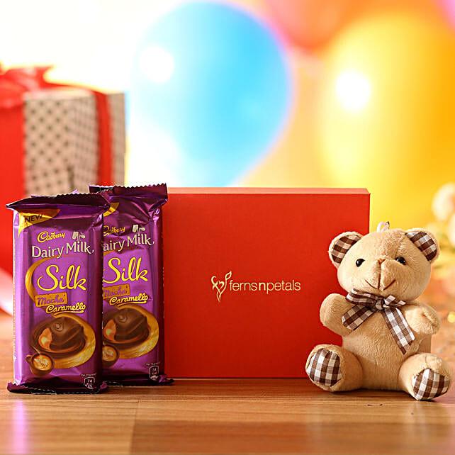 Cuddly Bear & Mocha Caramello Chocolate: Soft toys Delivery for Bhai Dooj