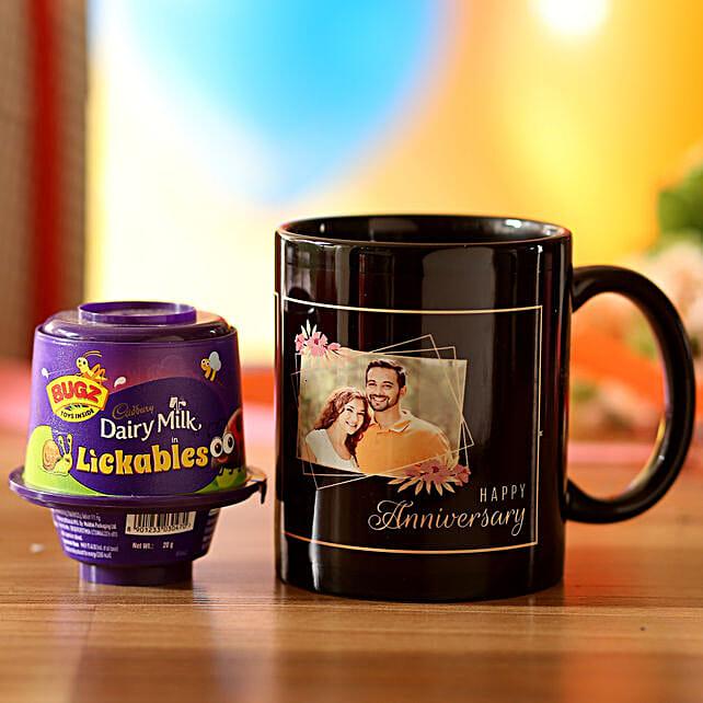 Personalised Anniversary Wishes Mug & Cadbury Lickables: