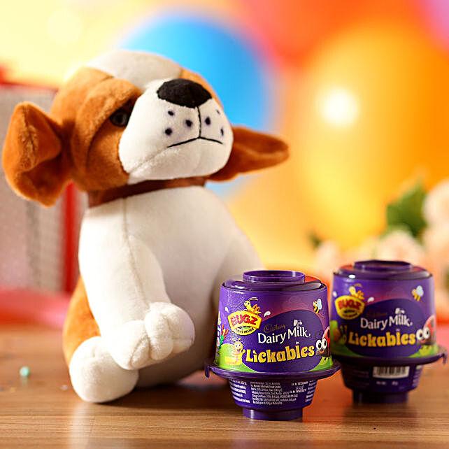 Adorable Dog Soft Toy & Cadbury Lickables: Soft toys Delivery for Bhai Dooj