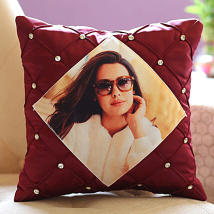 Stone Studded Personalised Cushion Cover: Send Thinking Of You Gifts