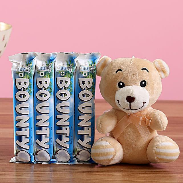 Bounty Chocolate & Teddy Bear: Soft toys for Bhai Dooj