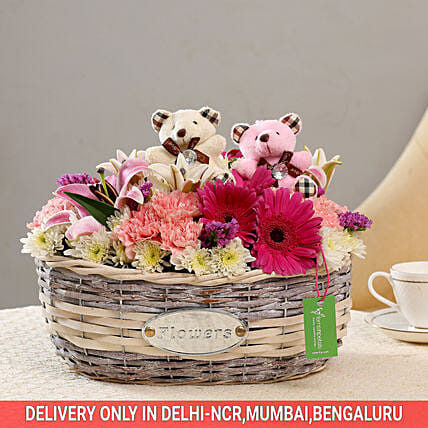 Exotic Flower Basket: Soft Toys Gifts