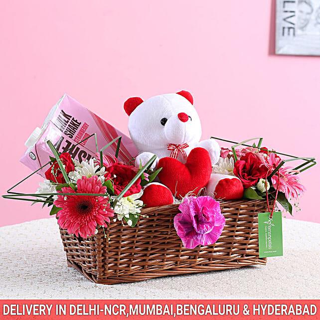 Floral Basket Of Goodies & Teddy Bear: Karwa Chauth Gift Baskets