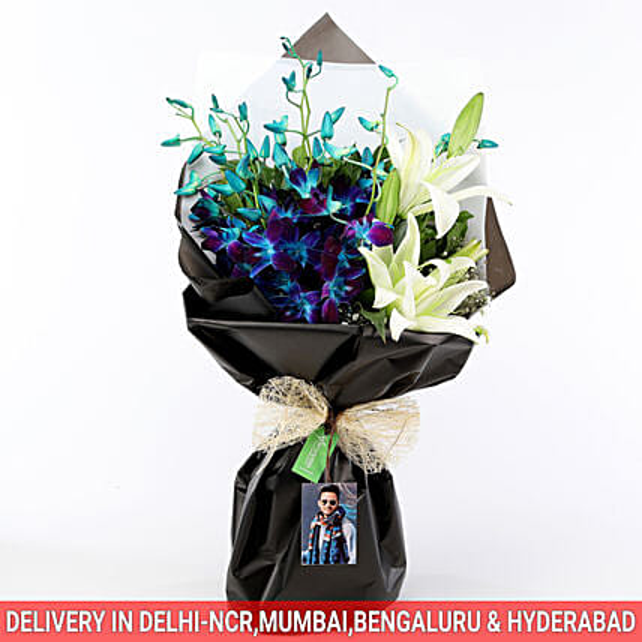 Personalised Elegant Mix Flower Bouquet: Flowers N Personalised Gifts