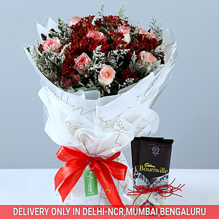 Roses & Chrysanthemums Bouquet With Bournville: