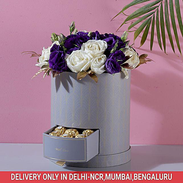 Roses & Lisianthus Box: Chocolates Shopping India
