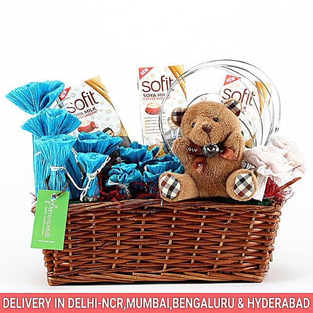 Sofit Soya Milk & Teddy Bear Basket: Karwa Chauth Gift Baskets