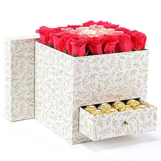 Stylish Box Of Pink Roses & Chocolates: Chocolates Shopping India